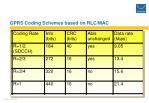 gprs coding schemes based on rlc mac