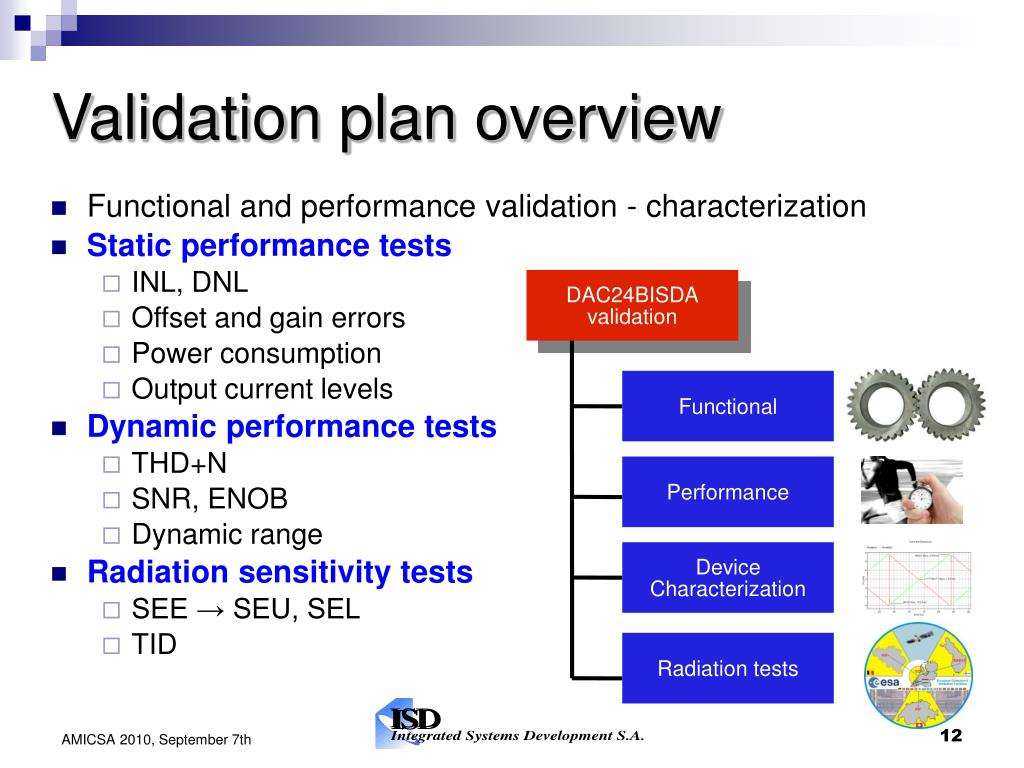 Validation plan overview