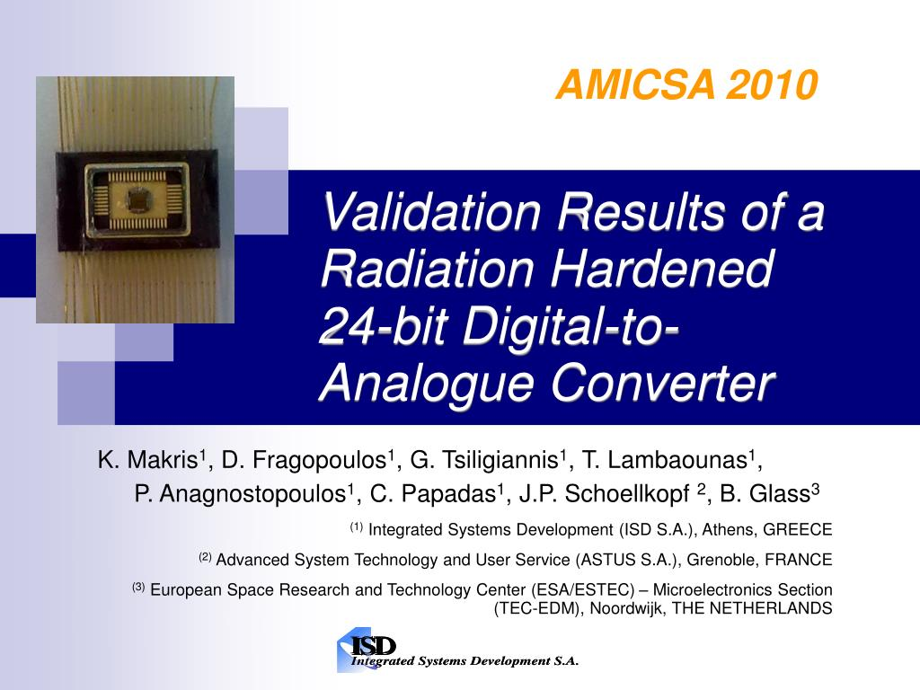 validation results of a radiation hardened 24 bit digital to analogue converter