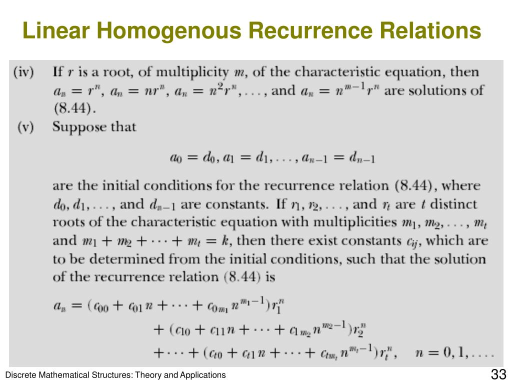 Linear Homogenous Recurrence Relations