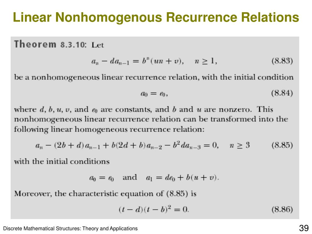 Linear Nonhomogenous Recurrence Relations