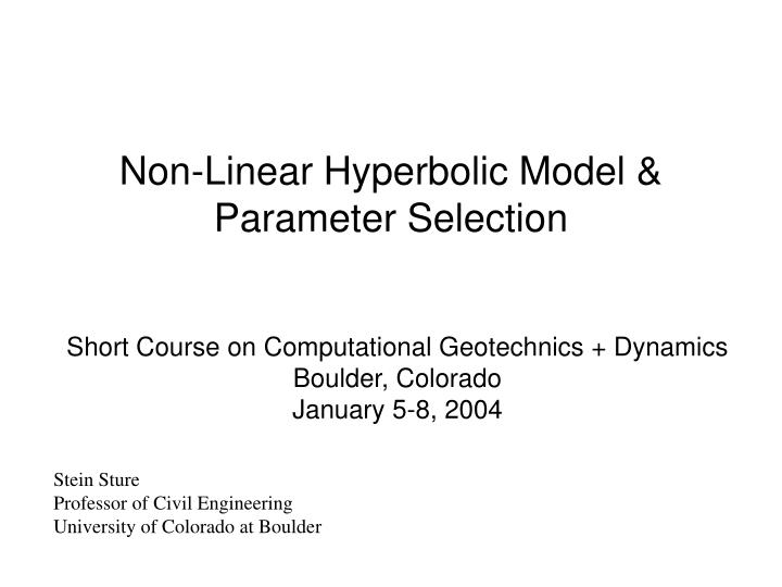 Non linear hyperbolic model parameter selection l.jpg