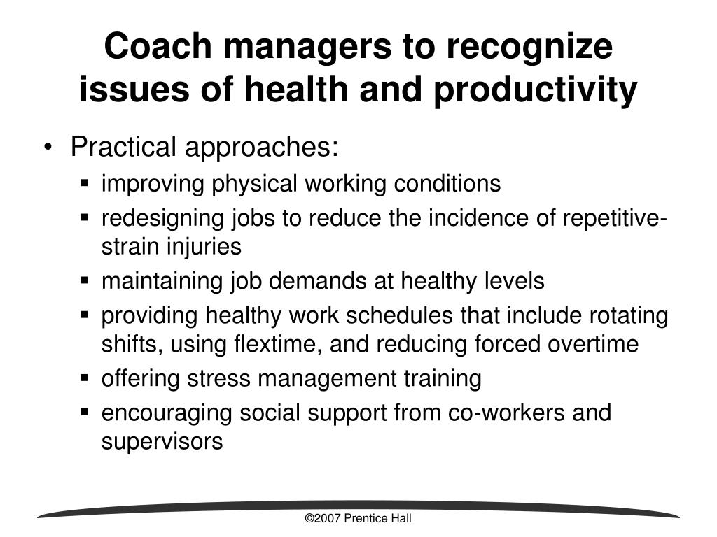 Coach managers to recognize issues of health and productivity