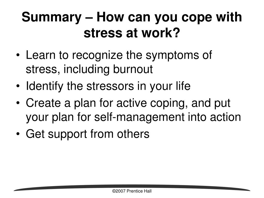 Summary – How can you cope with stress at work?