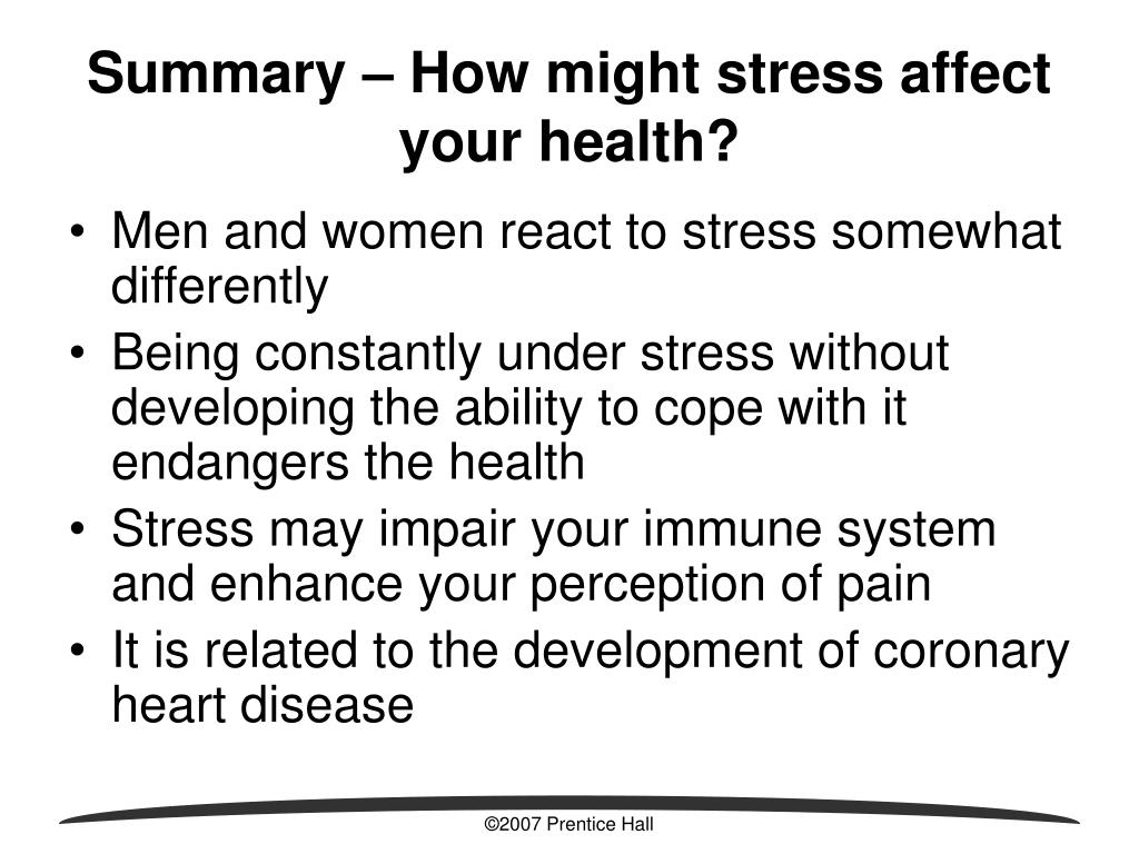 Summary – How might stress affect your health?