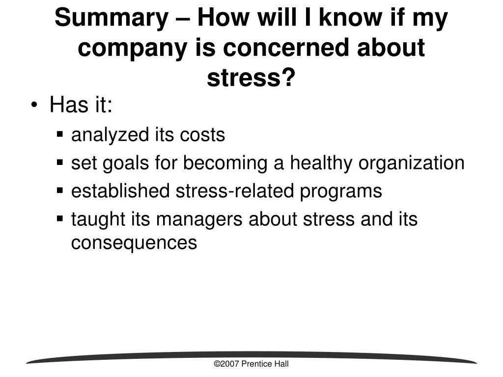 Summary – How will I know if my company is concerned about stress?