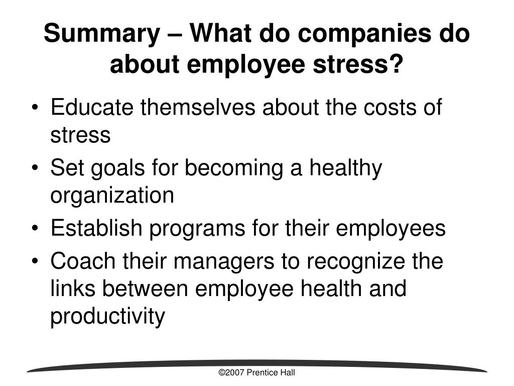 Summary – What do companies do about employee stress?