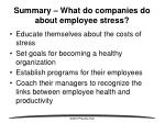 summary what do companies do about employee stress