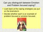 can you distinguish between emotion and problem focused coping