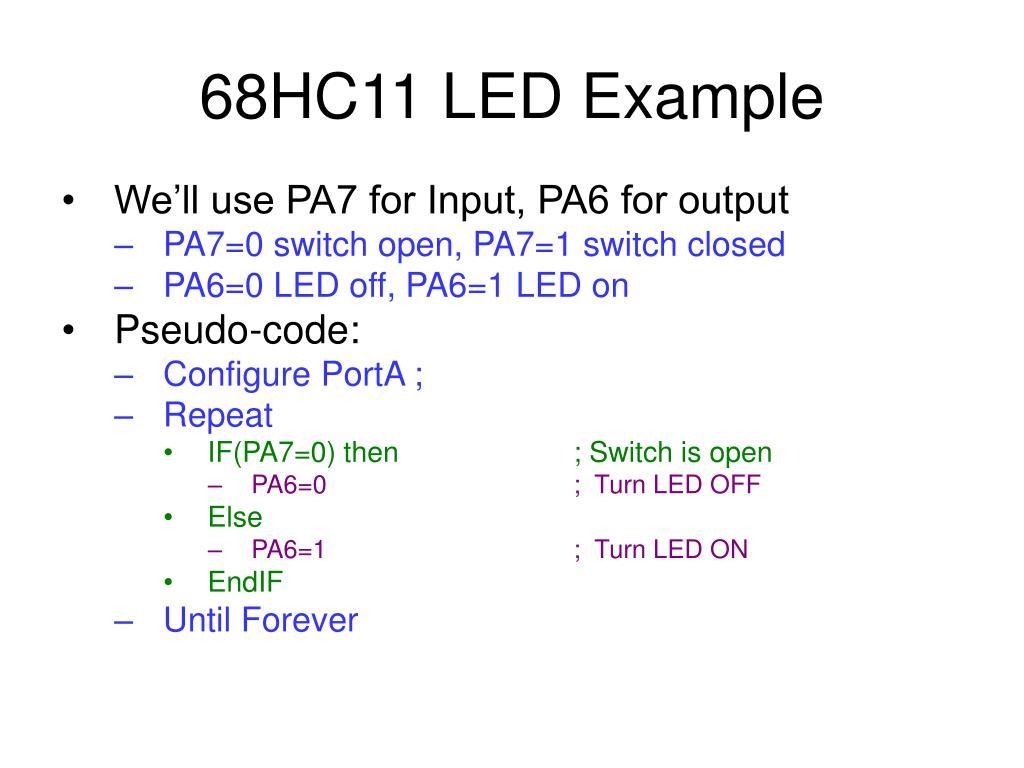68HC11 LED Example