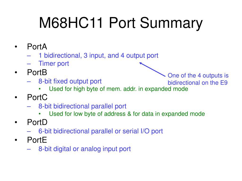 M68HC11 Port Summary
