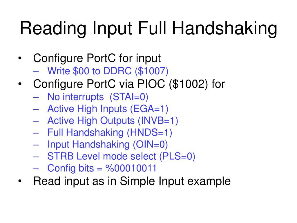 Reading Input Full Handshaking