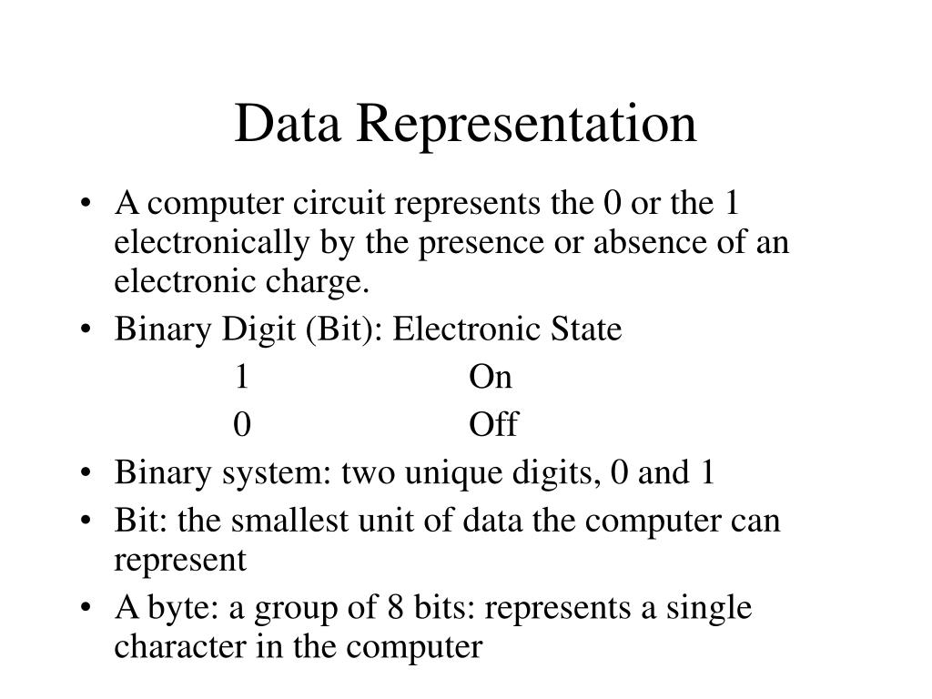 relationship of data representation bit byte and character