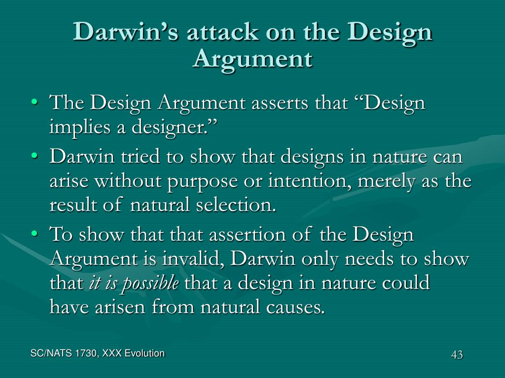 Darwin's attack on the Design Argument