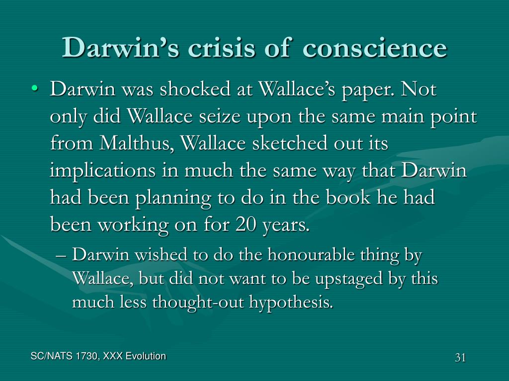 Darwin's crisis of conscience