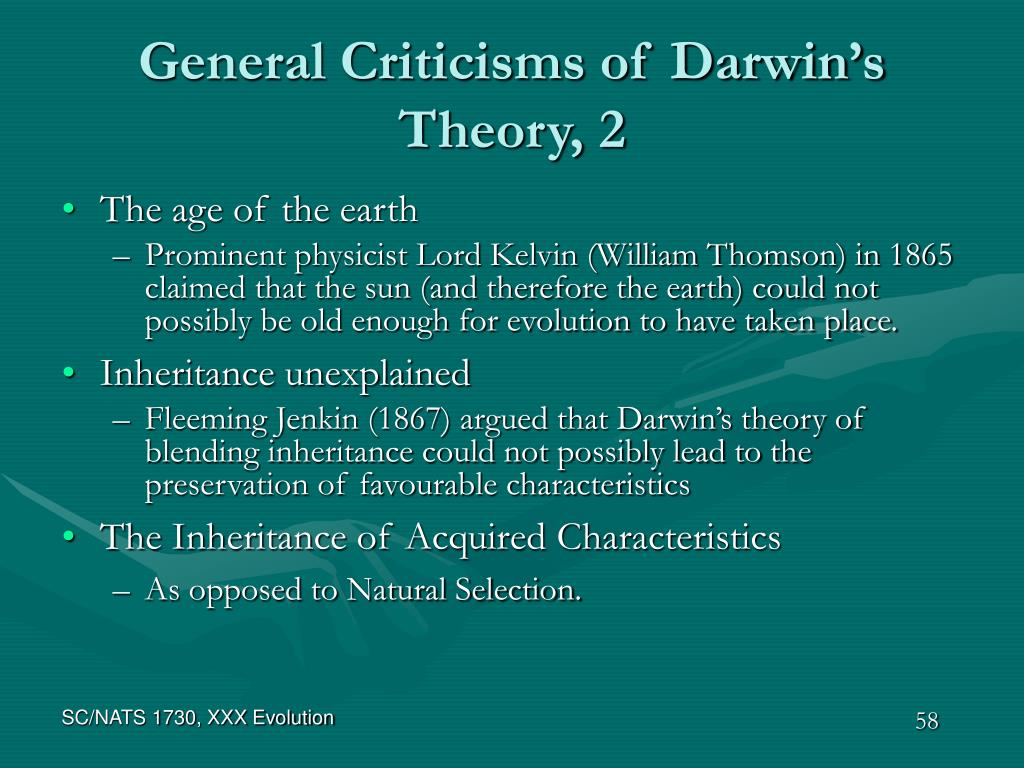 General Criticisms of Darwin's Theory, 2