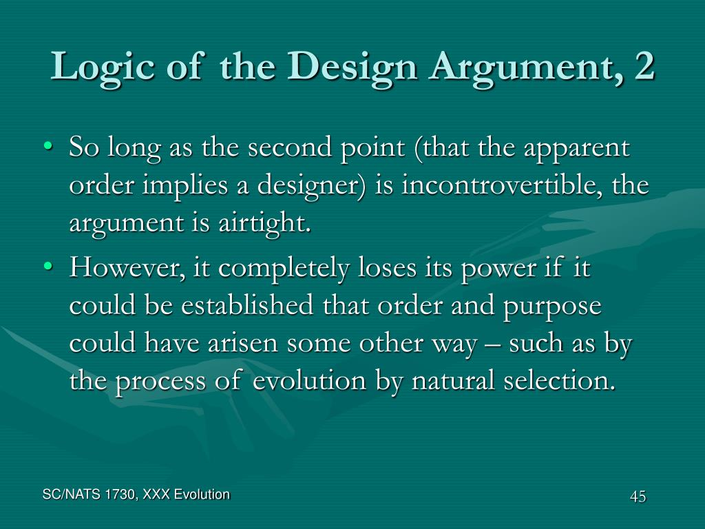 Logic of the Design Argument, 2