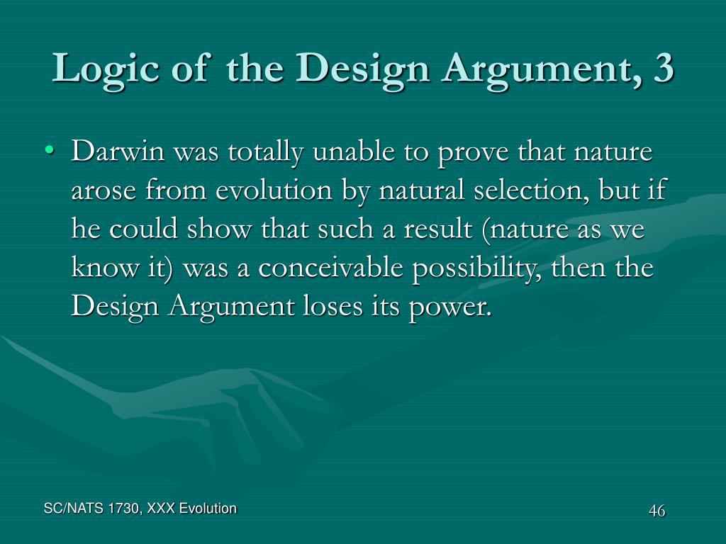 Logic of the Design Argument, 3
