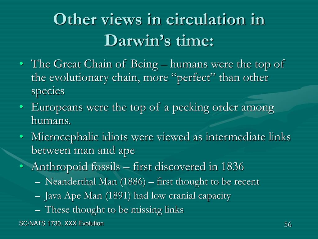 Other views in circulation in Darwin's time:
