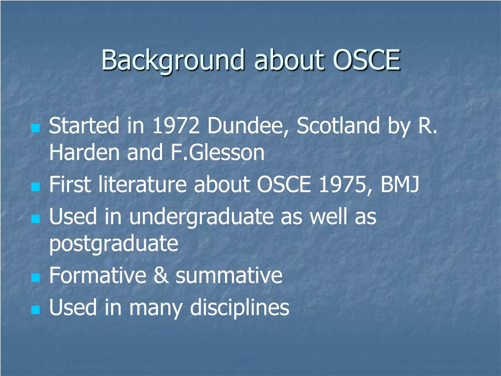 Background about OSCE
