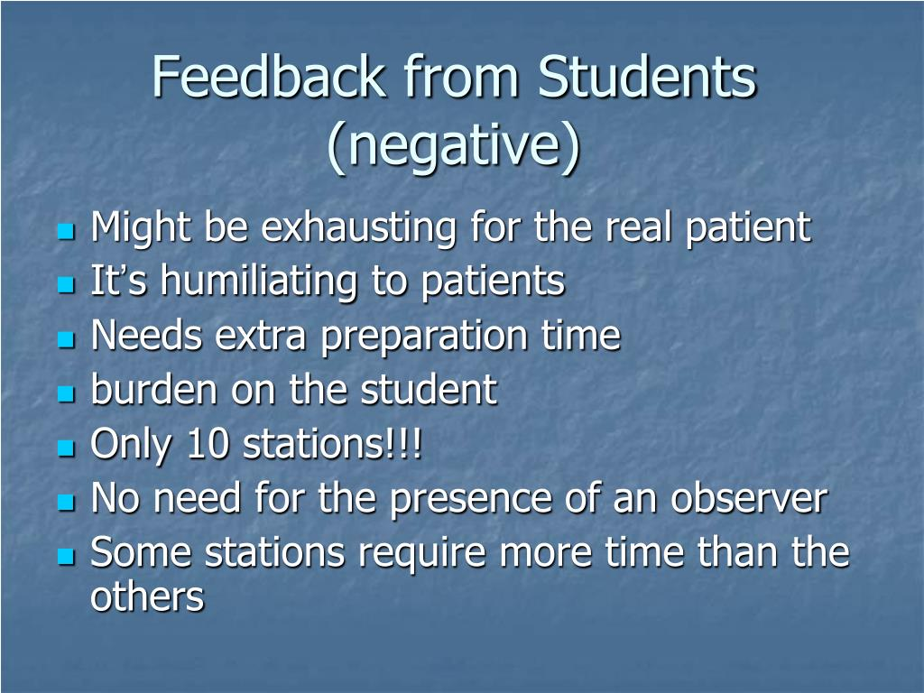 Feedback from Students (negative)