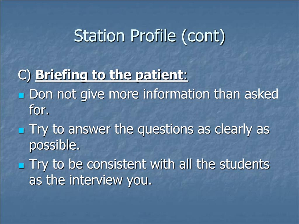 Station Profile (cont)