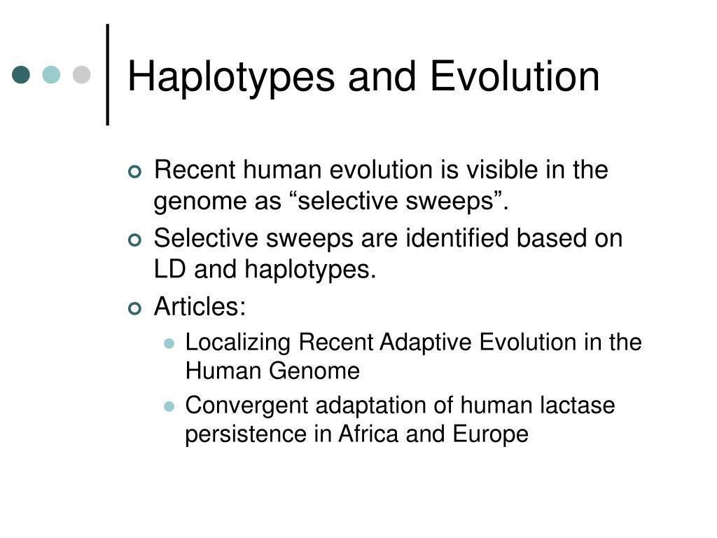 Haplotypes and Evolution