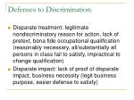 defenses to discrimination