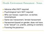 hostile environment harassment notes