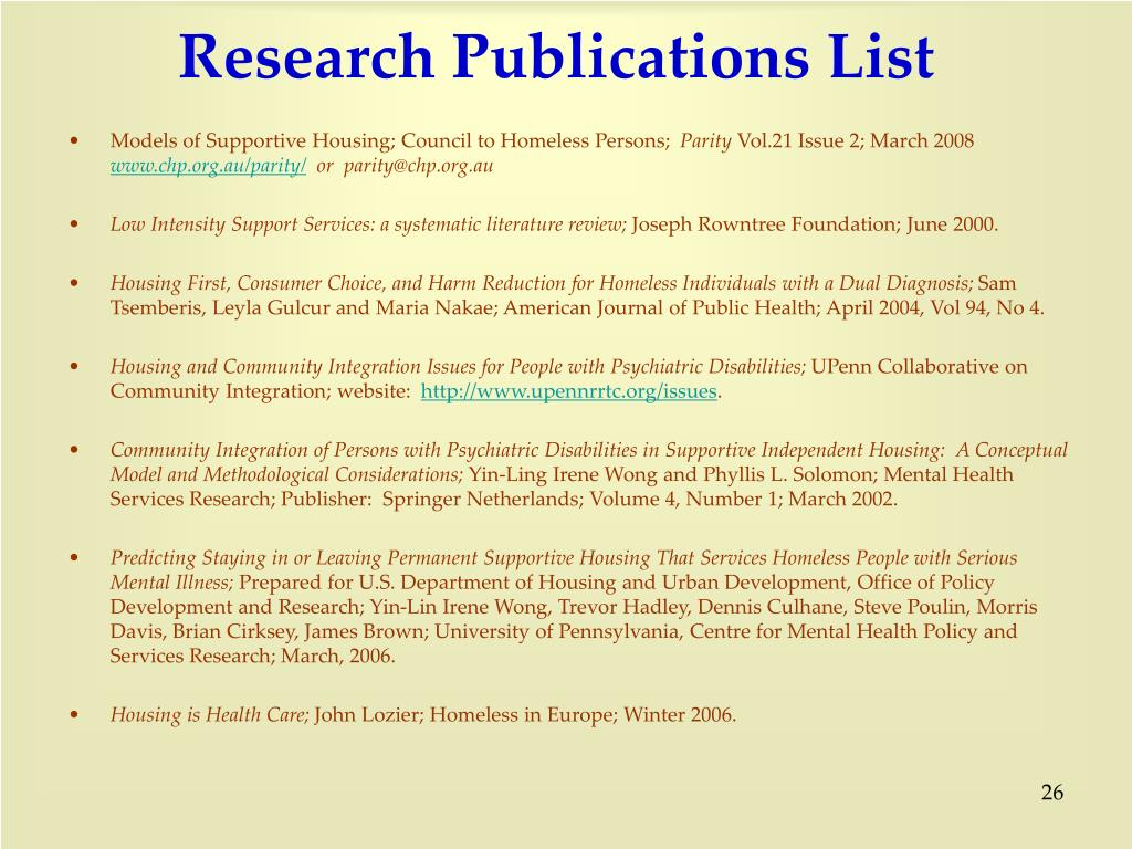 Research Publications List