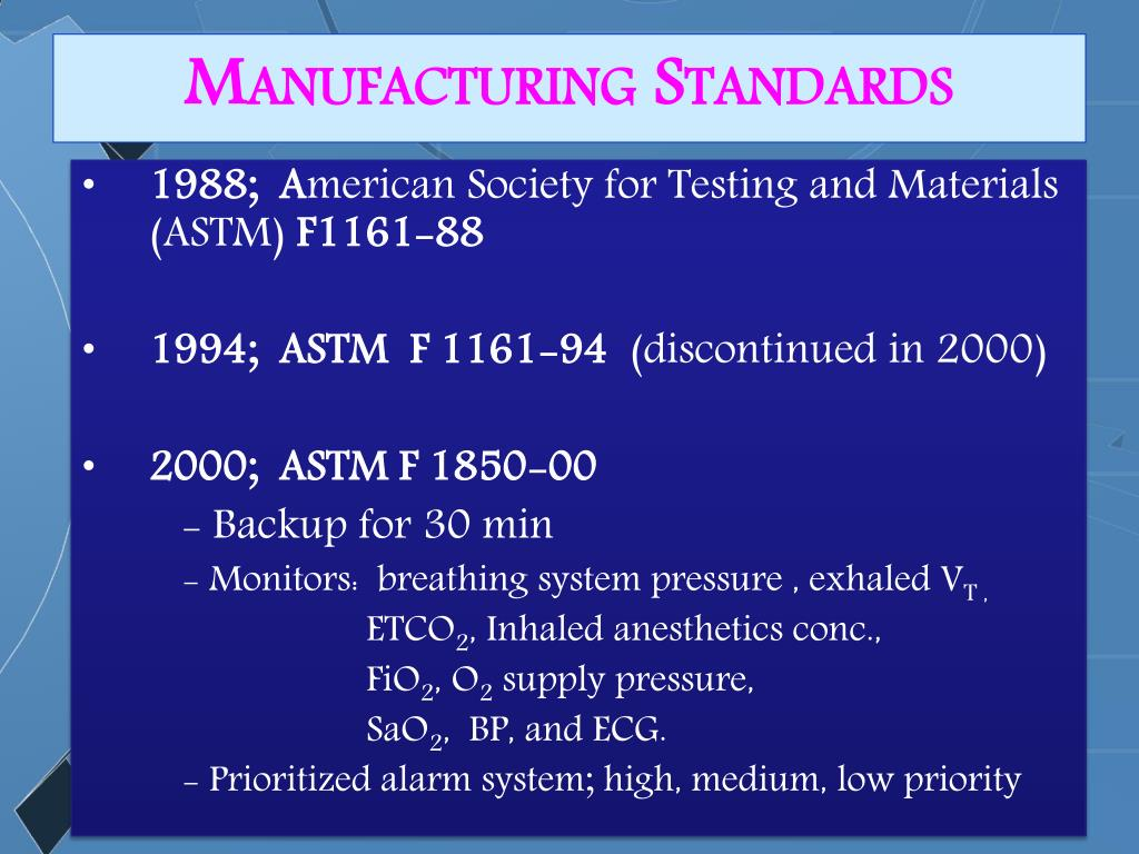 Manufacturing Standards
