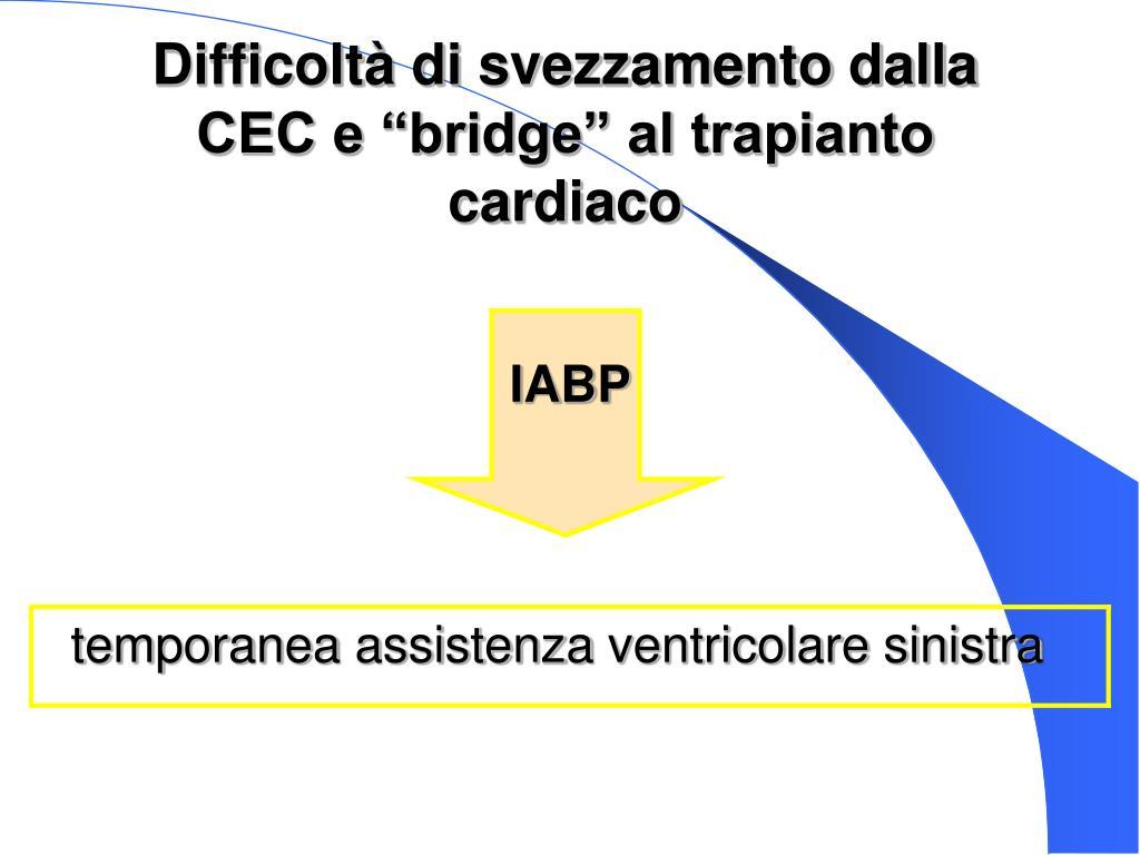 """Difficoltà di svezzamento dalla CEC e """"bridge"""" al trapianto cardiaco"""