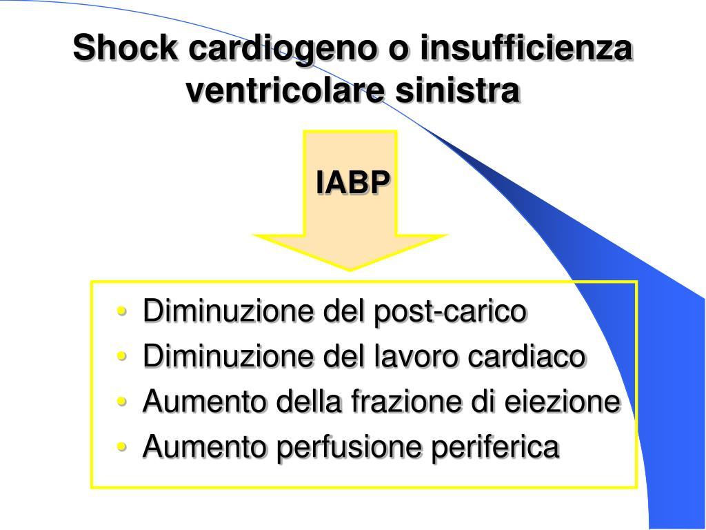 Shock cardiogeno o insufficienza ventricolare sinistra