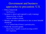 government and business approaches to precaution u s