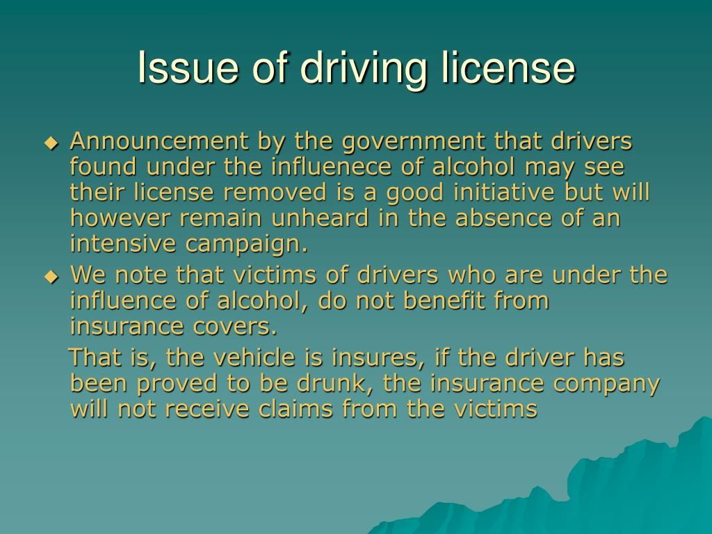 Issue of driving license
