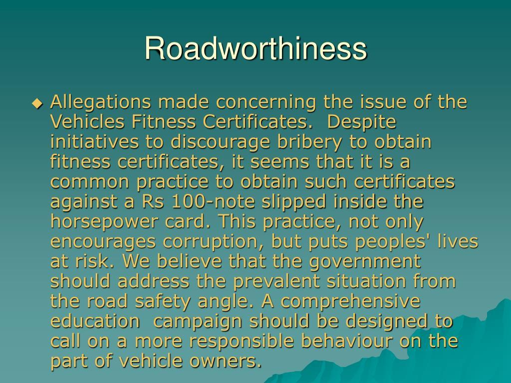 Roadworthiness