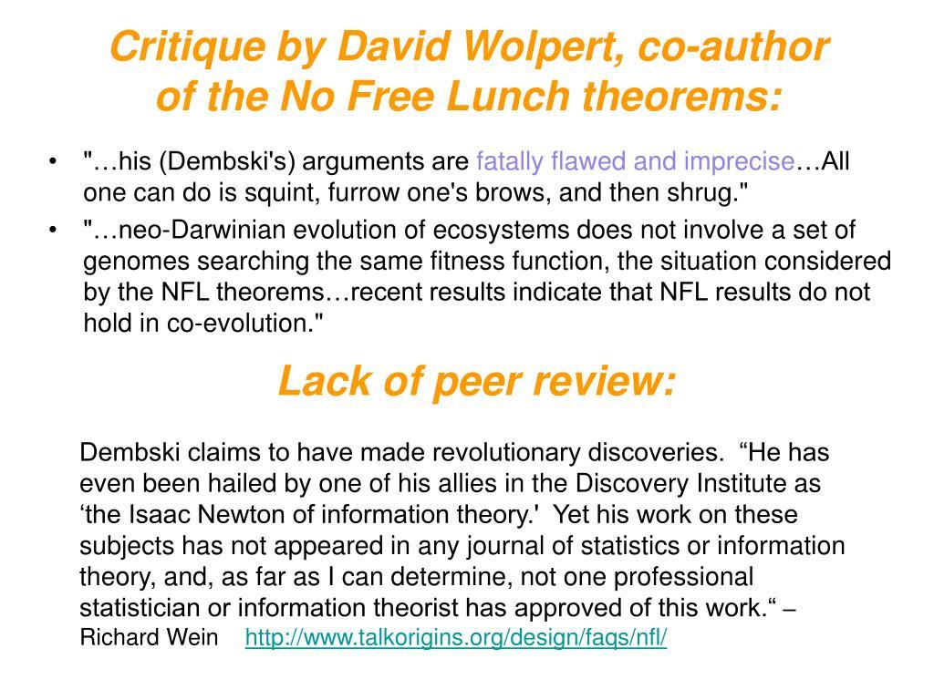 Critique by David Wolpert, co-author