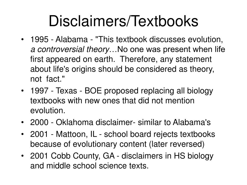 Disclaimers/Textbooks