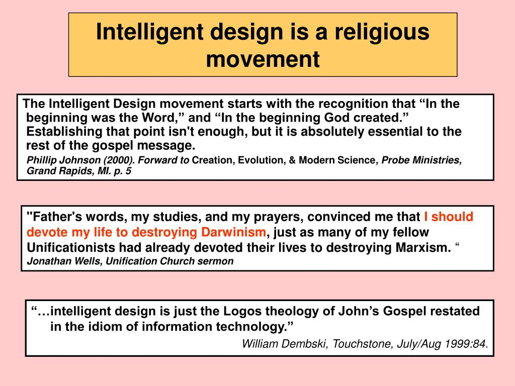 Intelligent design is a religious movement