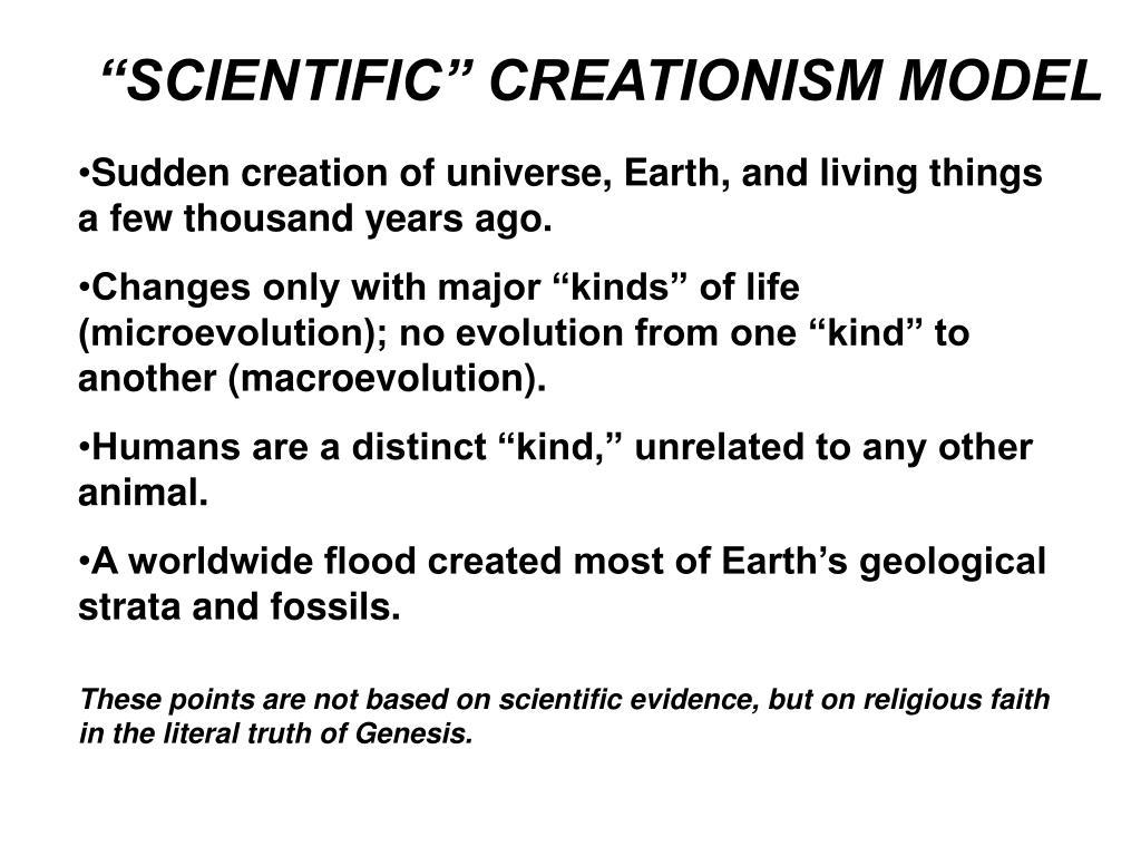 """""""SCIENTIFIC"""" CREATIONISM MODEL"""