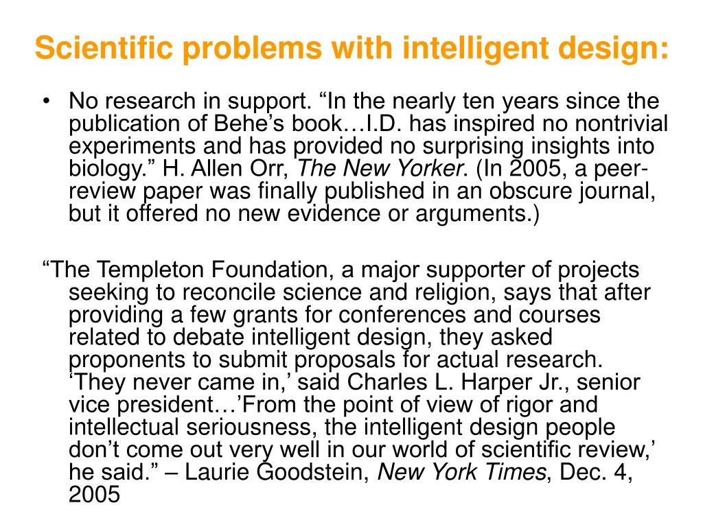 Scientific problems with intelligent design: