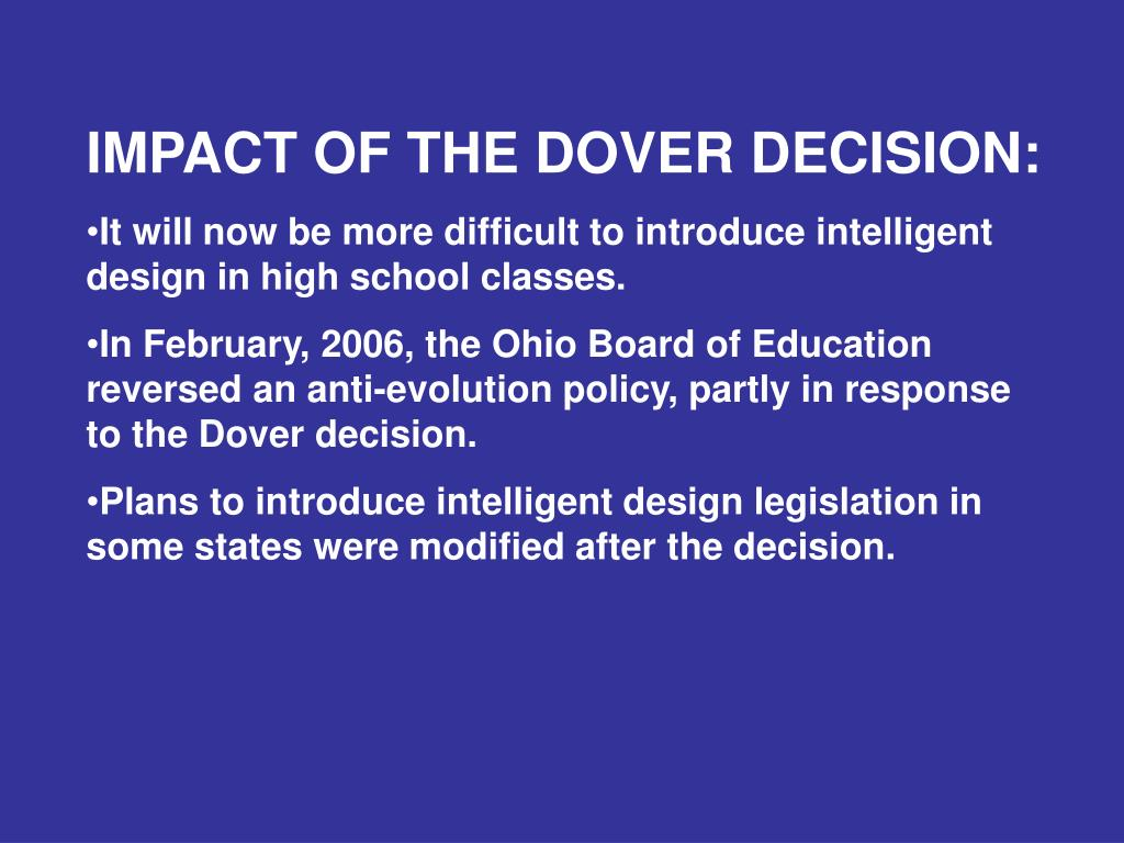 IMPACT OF THE DOVER DECISION: