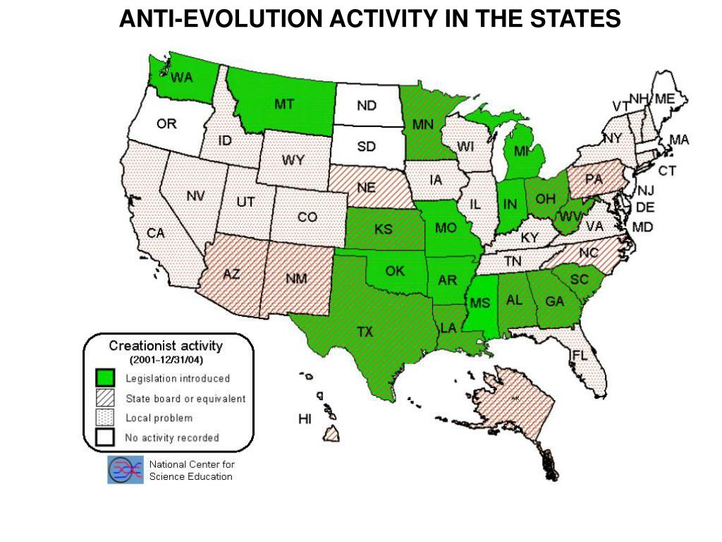 ANTI-EVOLUTION ACTIVITY IN THE STATES