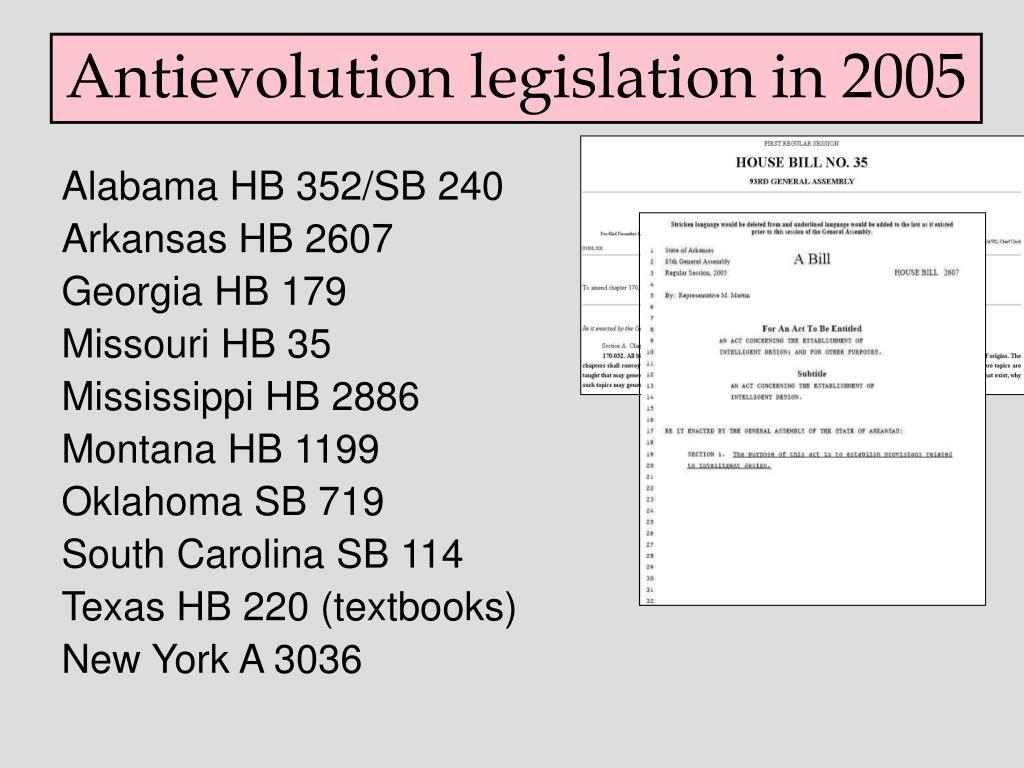 Antievolution legislation in 2005