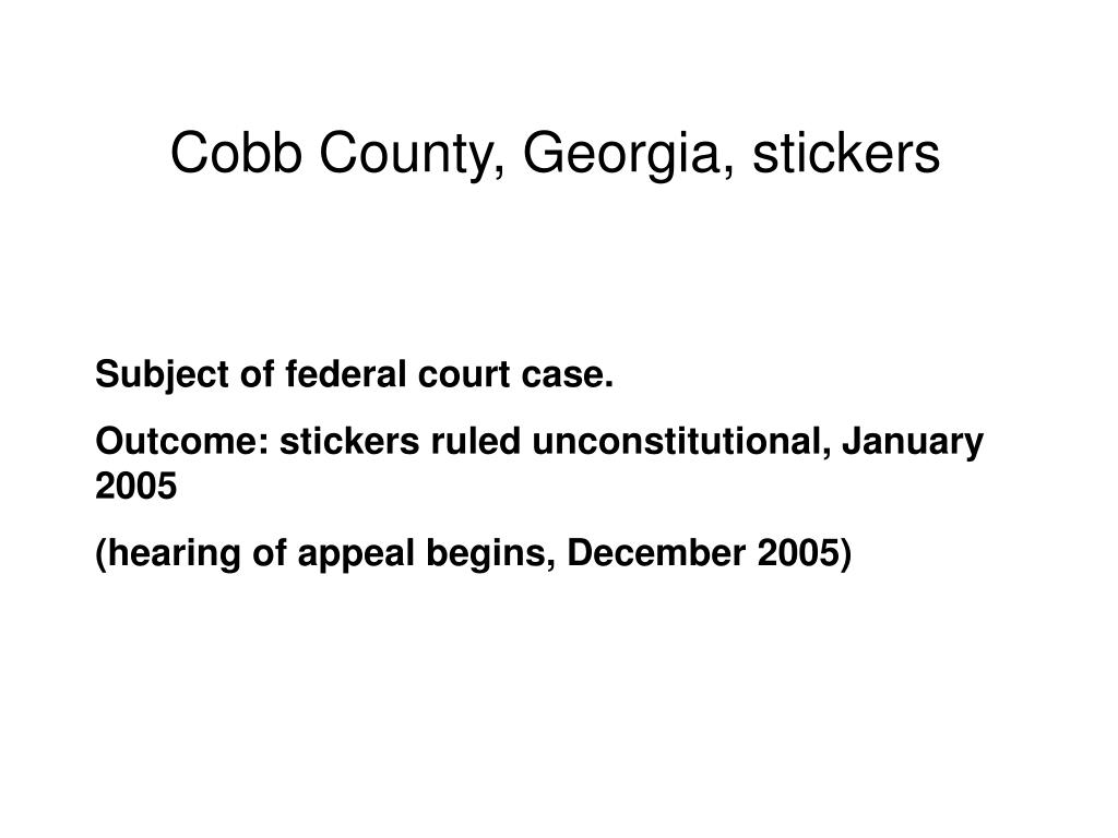 Cobb County, Georgia, stickers