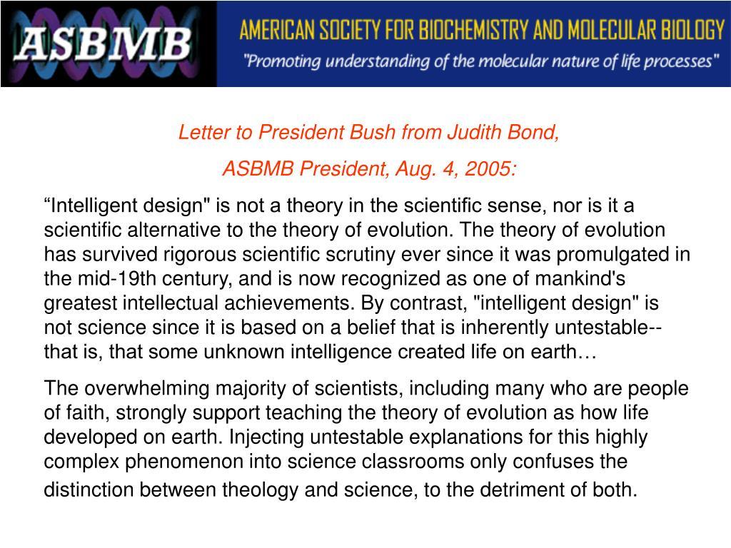 Letter to President Bush from Judith Bond,