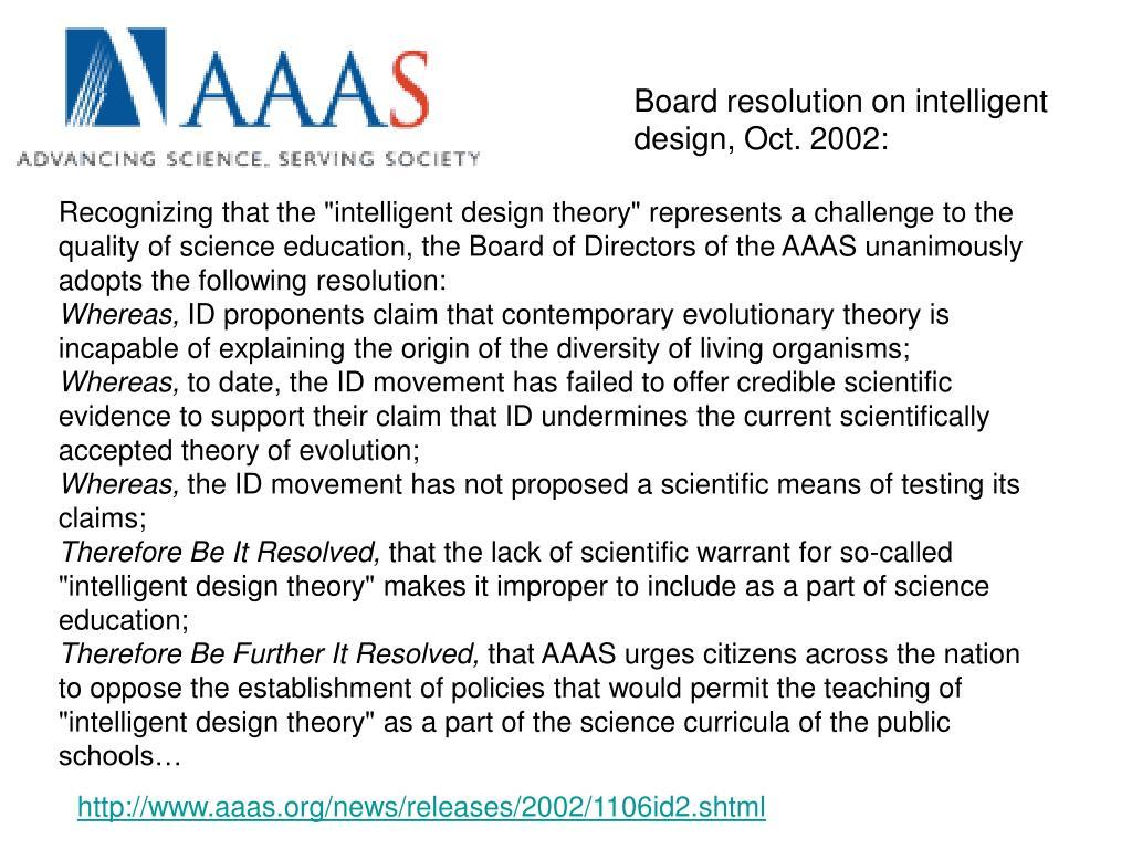 Board resolution on intelligent design, Oct. 2002: