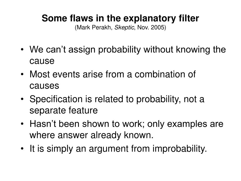 Some flaws in the explanatory filter