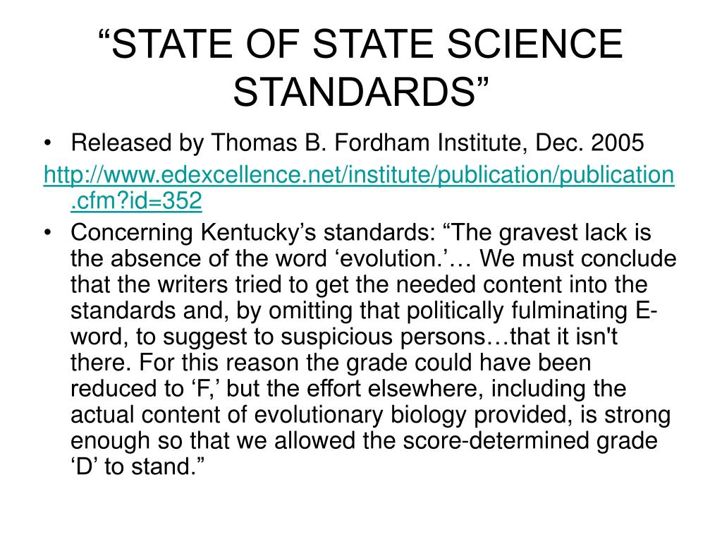 """STATE OF STATE SCIENCE STANDARDS"""