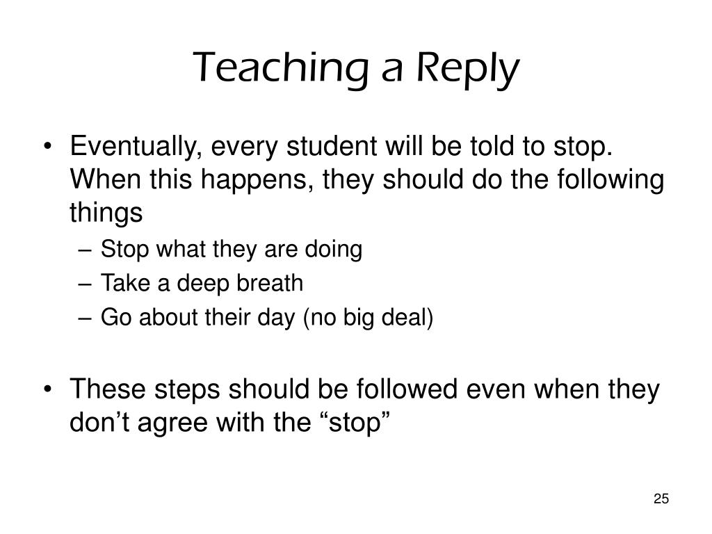 Teaching a Reply